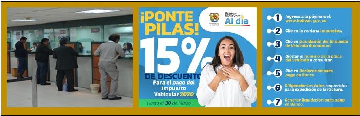 15 % DE DESCUENTO EN IMPUESTO VEHICULAR DE BOLÍVAR