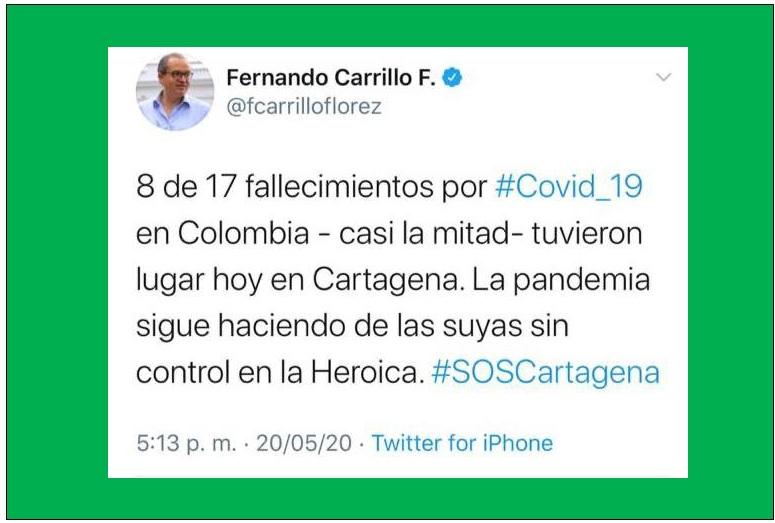8 MUERTOS POR CORONAVIRUS AYER EN CARTAGENA