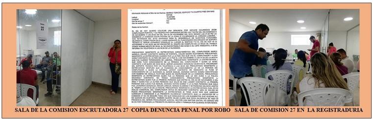 ¡..INSÓLITO..! SE ROBARON COMPUTADOR DE COMSIÓN ESCRUTADORA 27