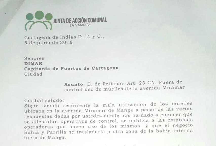 JAC DE MANGA RECLAMA A DIMAR NEGLIGENCIA EN CONTROL DE MUELLES