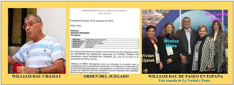 LIOS JUDICIALES DE WILLIAM DAU, POR DESACATO, ARRESTO DE 3 DIAS