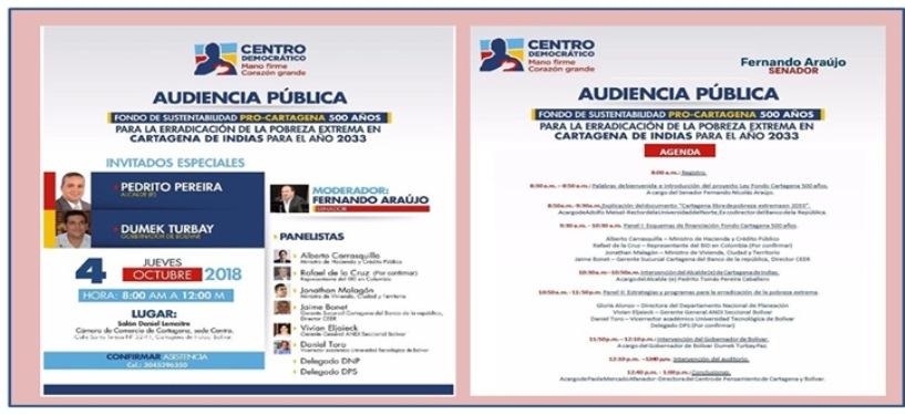 MAÑANA  JUEVES AUDIENCIA PUBLICA DEL FONDO DE SUSTENTABILIDAD PRO-CARTAGENA 500 AÑOS