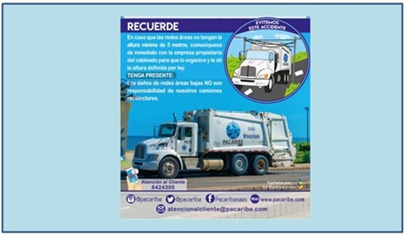 PACARIBE PIDE A USUARIOS REVISAR ALTURA DE REDES Y CABLEADO EXTERNOS