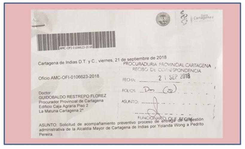PROCURADURIA EN EMPALME DE ALCALDIA SOLICITÓ PEDRITO PEREIRA